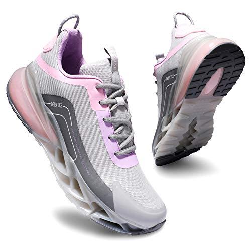 Deevike Sneaker Damen Laufschuhe Straßenlaufschuhe Sportschuhe Turnschuhe rutschfest Stoßfest Fitness Schuhe Grau Rosa-39