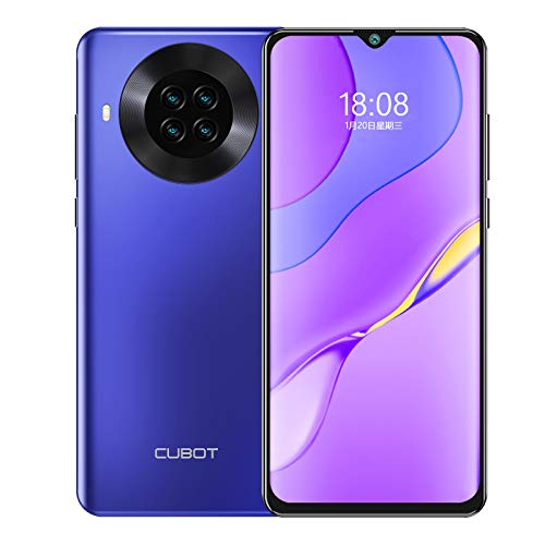 CUBOT Note 20 pro Smartphone ohne Vertrag 6 + 128 GB, 6,5 Zoll HD Wassertropfen Display, 4200mAh Akku, 20MP AI Quad-Kamera, 4G LET Dual SIM Handy Android 10.0 NFC Face ID(Blau)