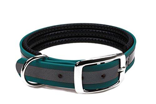 LENNIE BioThane Halsband, gepolstert, Dornschnalle, 25 mm breit, Größe 44-52 cm, Petrol/Teal-Reflex