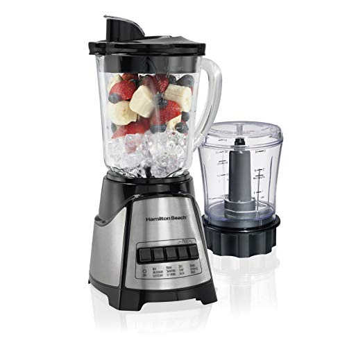 Hamilton Beach Power Elite Blender with 40oz Glass Jar and 3-Cup Vegetable Chopper, 12 Functions for Puree, Ice Crush, Shakes and Smoothies, Black and Stainless Steel (58149) Alaska