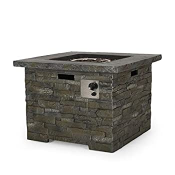 GDFStudio   Stonecrest   Outdoor Square Fire Pit Natural Stone