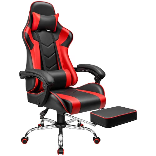 Furmax Gaming Chair Office Chair Ergonomic Racing Style Computer Chair with Footrest High Back Video Game Chair Adjustable Swivel Chair with Headrest and Lumbar Support (Red)