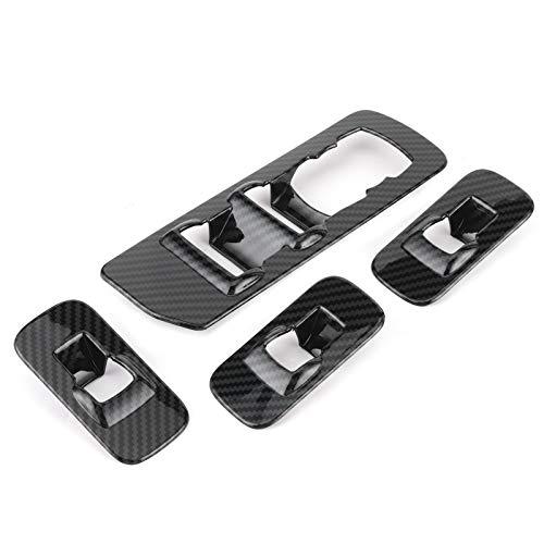 Marco de botón de interruptor de ventana, cubierta de ventana, molduras de panel de interruptor de ventana, cubierta de interruptor de ABS de estilo interior de coche, 4 piezas, aptas para