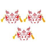PRETYZOOM 3 Unids Kitsune Fox Mask Led Animal Cosplay Máscara Japonesa Kabuki Máscaras Tradicionales para Halloween Masquerade Party Favors