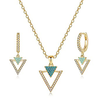 Ursteel Gold Triangle Necklace and Earring Sets for Women 14K Gold Plated Cubic Zirconia Geometric Triangle Pendant Necklace Triangle Small Huggie Hoop Earrings Simple Dainty Jewelry Sets for Women