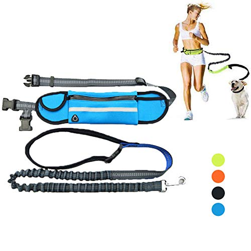 YUNDING Durable Handsfree Dog Leash 160cm with Waterproof Waist Belt, Pocket Reflective Adjustable Pet Leash, for Small and Medium Large Dogs Running(Color:Blue)