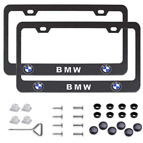 2 Pcs Premium Black Aluminum Alloy License Plate Frame fit BMW Tag License Plate, Applicable to Standard US License Plate Cover, Accessories Included