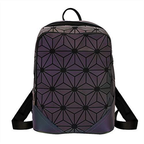 XOYZUU Geometric Backpack Holographic Reflective Backpacks Fashion Daypack,Geometric Lingge Backpack Women Men Luminous Flash Travel Fashion Shoulder Bag Rucksack