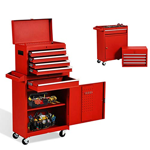 5-Drawer Tool Chest Tool Box,Rooling Tool Chest with Wheels,Tool Cabinet with Lock,4 Movable Rollers Tool Chest with 5 Drawers,Large Capacity Tool Storage for Garage, Warehouse. (RED TOOLBOX)