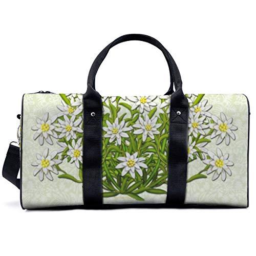 Edelweiss - Bolsa de deporte para gimnasio, diseño de flores suizas de montaña, bolsa de yoga, bolsa de hombro, bolsa de viaje, bolsa de viaje para hombres y mujeres