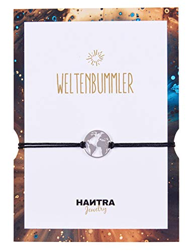 HANTRA Weltkugel Armband Damen - 925er Sterling Silber - Handarbeit - Nickelfrei - Damen Armband Schwarz - inkl. elegantem Geschenk-Umschlag - Plastikfrei