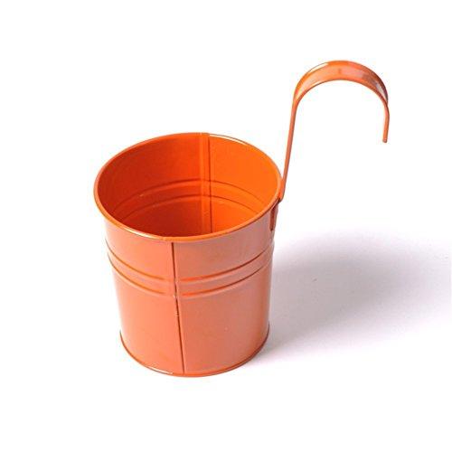 Laat - Fioriere sospese in metallo. Vasi da giardino con gancio rimovibile. Vasi da balcone, fioriere in metallo, decorazione della casa, Metallo, arancione, 9.5cm*10cm*8cm