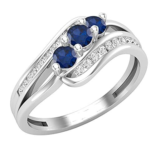 Dazzlingrock Collection Anillo de compromiso de tres piedras de plata de ley 925 con vástago dividido y diamante blanco, Zafiro azul Diamante blanco. Plata-esterlina, zafiro azul Diamante blanco,