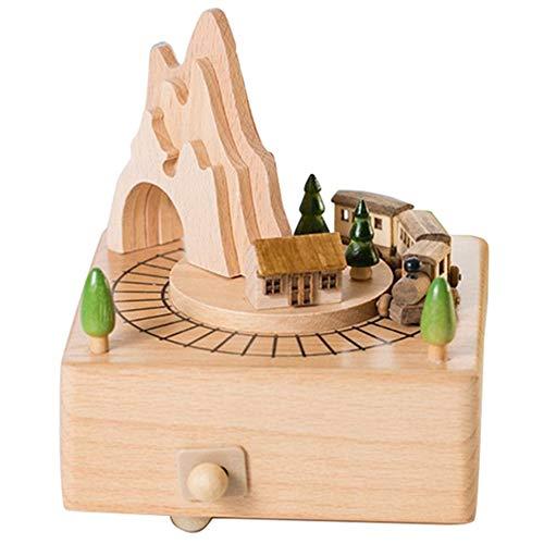 BRTTHYE houten muziekdoos met bergtunnel met kleine bewegende magnetische trein