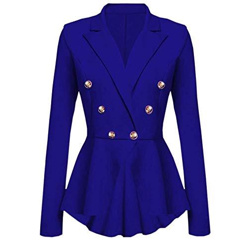 Abrigos Blazer De Mujer De Botón Volantes Peplum Modernas Casual Chaqueta De Manga Larga Casual Abrigo Outwear Moda 2020 Ropa De Mujer (Color : Blau, One Size : Eu-36/M)