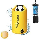Ryaco Premium Bolsa estanca 20L Impermeable Seca PVC- Set de Bolsa Waterproof con Funda táctil de móvil y Bolsa Cintura para Playa y Deportes al Aire(Rafting/Kayak/Senderismo) (Amarillo, 10L)