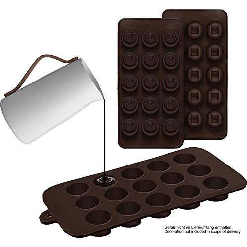 shibby 2er Set Silikon-Pralinenformen (Rund/Eckig) – Silikonform (BPA-frei) für Schokolade