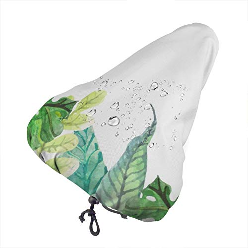 florasun Fahrradsattelbezug, tropische Blätter, mit Kordelzug, schmutzabweisend, wasserdicht, für E-Bike
