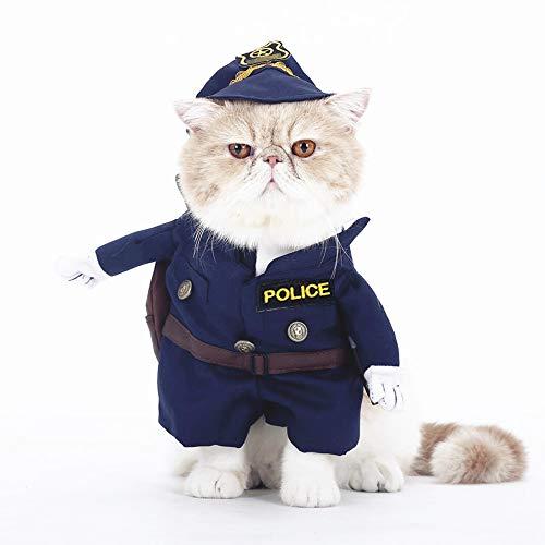 SMALLLEE_LUCKY_STORE Costume d'halloween Amusant pour Chien - Costume de Police avec Chapeau - pour Animal Domestique - Taille XL