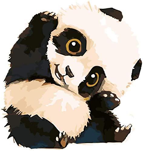 JCILZX Niedlicher Panda Malen nach Zahlen Kits mit Pinseln und Acrylpigment DIY Leinwandfarbe für Anfänger 40x50cm (Rahmenlos)