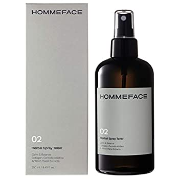 HOMMEFACE Men's Herbal Spray Face Toner 8.45 fl oz - Alcohol-Free Hydrating and Balancing Facial Mist with Witch Hazel CICA Extract Anti Aging Aftershaving for All Skin Types