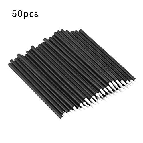 Ballylelly 50pcs pinceau pour eyeliner en fibre noire jetable dans un sac en plastique, outils de maquillage professionnels et pinceaux pour le eyeliner
