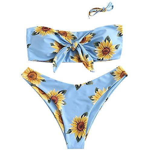 ZAFUL Damen Bikini Set Schulterfrei Falten Geraffter Bandeau Swimsuit Bikini-Set Bademode Badeanzug Bikinis