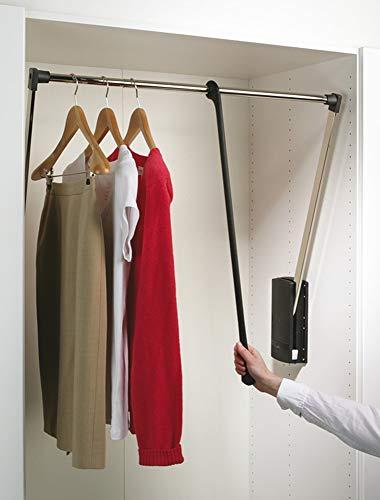 Kleiderlift verstellbar Garderoben-Lift Wardrobelift Schrank - Servetto | Kleider-Lüfter klappbar schwarz - vernickelt | breiten-verstellbar 600-1000 mm | 1 Stück - Kleiderstange ausklappbar