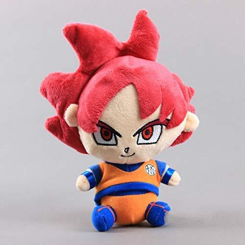 JMHomeDecor Peluche 20Cm Anime Dragon Ball Z Red Super Saiyan God Goku Peluche Muñeca Figura Colección Muñecas Niños Niños Regalo De Cumpleaños De Navidad