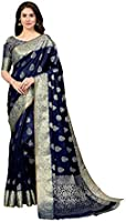 Amazon Brand - Anarva Women's Banarasi Cotton Silk Blend Saree With Unstitched Blouse Piece