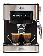 Ufesa CE7255 Cafetera Expresso y Capuccino con Panel Táctil Digital, Vaporizador Orientable, 20, 2 Modos: Café Molido o Monodosis, Filtros Bar Cream, Función Calienta Tazas, 850 W