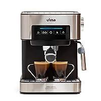 ufesa ce7255 macchina per caffè espresso due funzioni: macchina da caffè cialde, macchina da caffè macinato, touch screen, vaporizzatore regolabile. macchina caffè 20 bar, metallo/nero