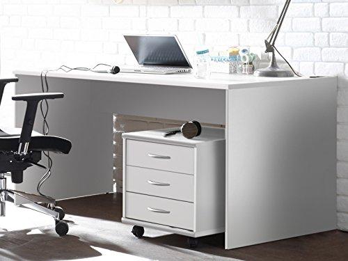 möbelando Schreibtisch Bürotisch Computertisch Arbeitstisch Tisch Büromöbel Olli I Weiß