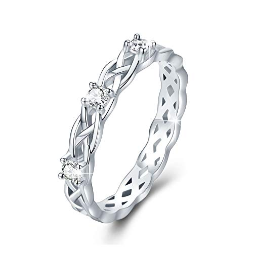 JUSTKIDSTOY Celtic Knot Eternity Promise Ring 925 Sterling Silver Adjustable Open Wrap Celtic Knot Rings Good Luck Irish Jewelry for Women Men (Size 7)