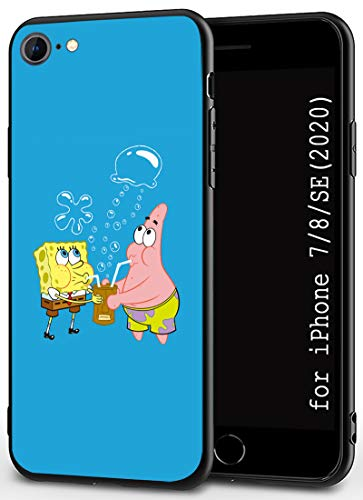 Compatible with iPhone 7 Case 8 Case SE 2020 Case 4.7' Soft Rubber Frame and Hard Plastic Back Ultrathin and Lightweight Black Cover Cases (Spongebob-and-Patrick)