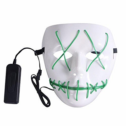 SUNREEK Maschera Spaventosa di Halloween, Mascherina Principale illuminata del Costume di El della Mascherina del Costume di Halloween per Halloween, Parti di Festival (Verde)