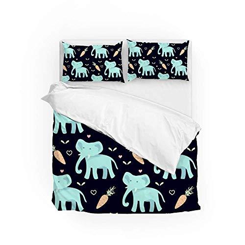 Soft Quilt Bedding Set Cartoon Elephant And Carrots Duvet Cover with Pillowcases Set 2 PCS 155 x 220 CM, Full Size