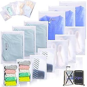 25Pcs Organizadores de Embalaje de Viaje,Organizador de Equipaje,Bolsas de Almacenamiento de Viaje para ropa Multifuncional Impermeable Transparente Bolsa (Mezclar 5 Tamaños)