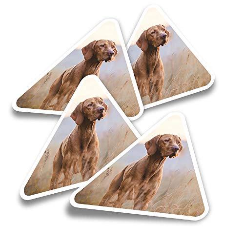 Pegatinas triangulares de vinilo (juego de 4) – puntero húngaro Vizsla Dog Fun Calcomanías para portátiles, tabletas, equipaje, reserva de chatarra, neveras #12566
