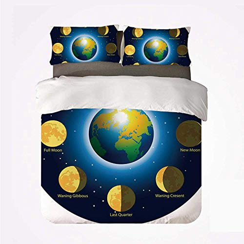 Duvet Cover Set Educational Warm 3 Bedding Set,Circular Frame Showing Basic Phases of Moon Calendar Cosmos Universe for Room
