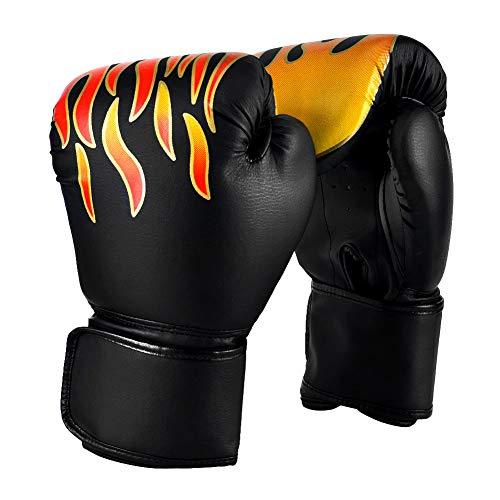 YCHK Gant de Boxe Adulte Gant d'Entreînement de Boxe pour Combat Gym Noir(12 oz)