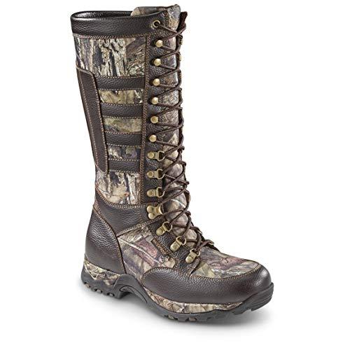 Guide Gear Men's Leather Waterproof Side-Zip Snake Boots, Brown/Mossy Oak Break-Up Country, 12D (Medium)
