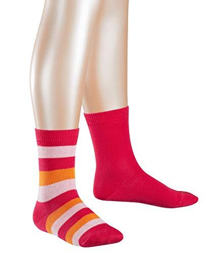 ESPRIT KIDS Mädchen Block Stripe Doppelpack Socken, Mehrfarbig (rose/orange 8857), 23-26 (2-3 Jahre) (2er Pack)