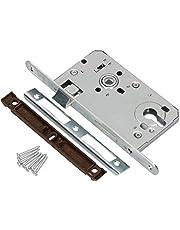 KOTARBAU® Insteekslot 72/55 mm DIN profielcilinder slot deurslot met tegenplaat staal verzinkt topkwaliteit roestvrij robuust zilver