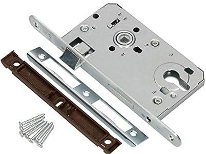 KOTARBAU® - Cerradura de puerta (72/55 mm, DIN izquierdo, acero galvanizado, resistente, plateado)