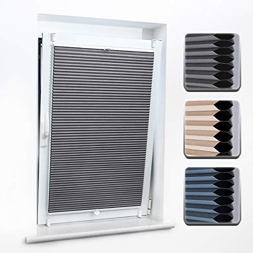 Buseu Wabenplissee Verdunklung Thermo Plisseerollo ohne Bohren Honeycomb Zweifarbig Plissee Klemmfix Sonnenschutz für Fenster & Tür Grau & Weiß 50x 130cm(BXH)