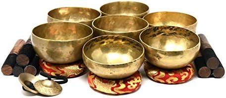 Chakra Healing Tibetan Singing Bowl Set of 7 Hand Hammered Himalayan Meditations product image