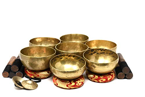 Chakra Healing Tibetan Singing Bowl Set of 7 Hand Hammered Himalayan Meditations