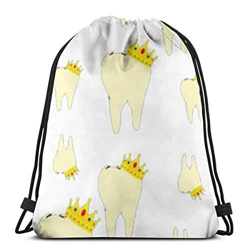 Mabell Queen Dental 3D Print Drawstring Backpack Rucksack Shoulder Bags Gym Bag for Adult 16.9'X14'