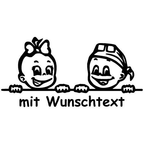 Babyaufkleber für Zwillinge mit Wunschtext - Motiv Z20-MJ (16 cm)